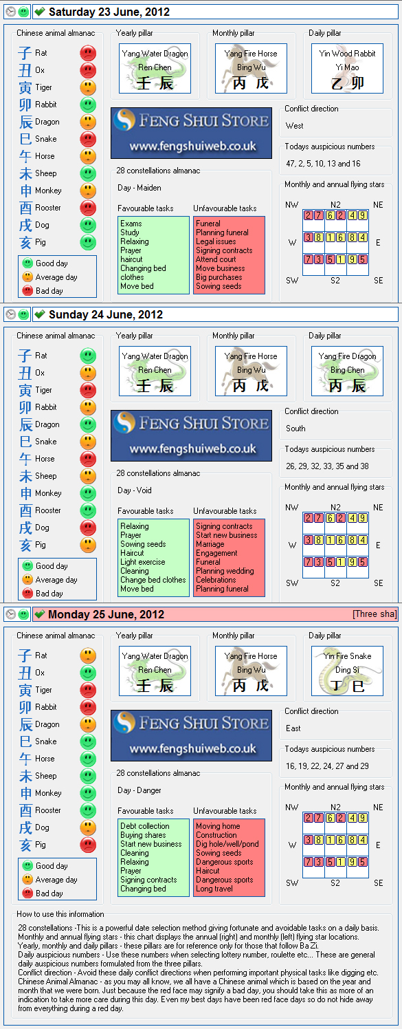 Free Feng Shui Tong Shu Almanac for Saturday 23rd - Monday 25th June 2012