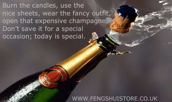 Burn the candles, use the nice sheets, wear the fancy outfit, open that expensive champagne.  Don't save it for a special occasion; today is special.