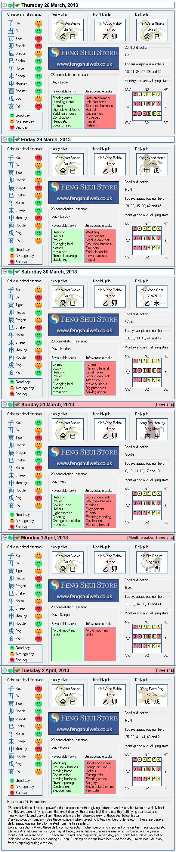 Tong Shu Almanac for Thursday 28th March - Tuesday 2nd April 2013