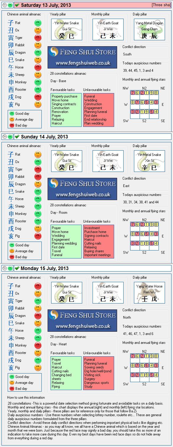 Tong Shu Almanac for Saturday 13th - Monday 15th July 2013