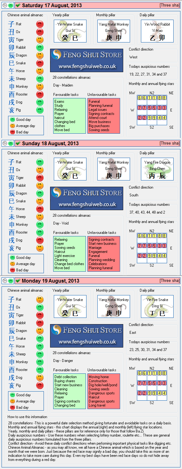 Tong Shu Almanac for Saturday 17th - Monday 19th August 2013