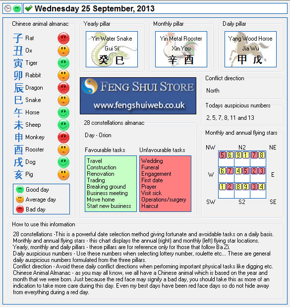 Tong Shu Almanac for Wednesday 25th September 2013