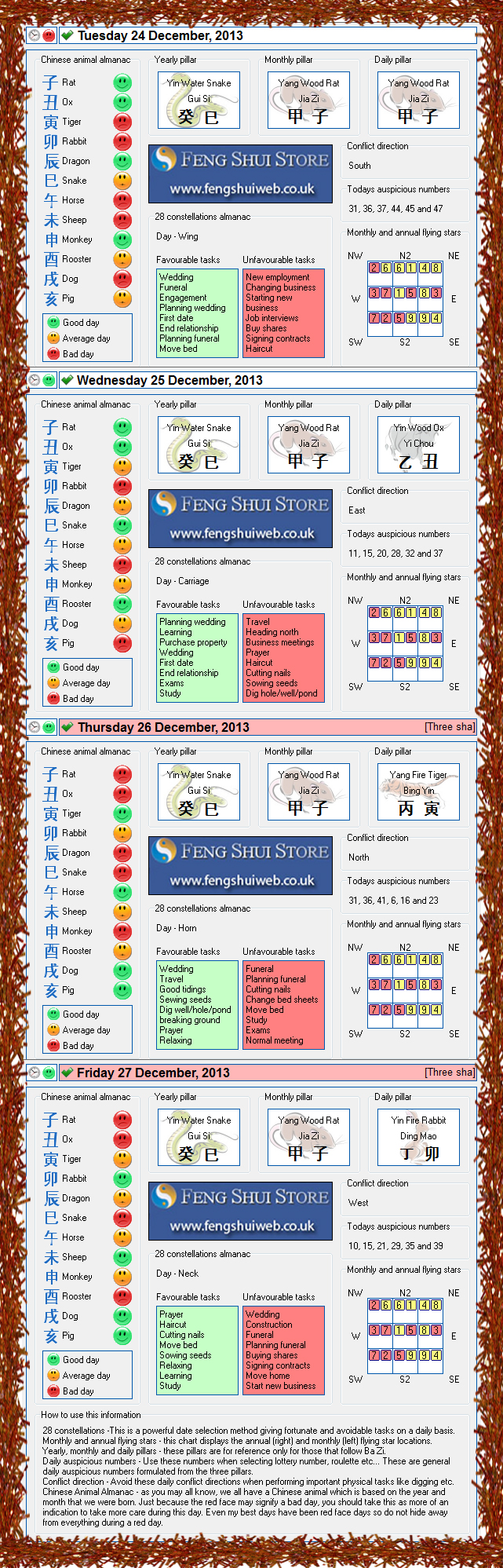 Tong Shu Almanac for Tuesday 23rd - Friday 27th December 2013