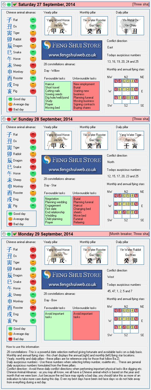 Tong Shu Almanac for Saturday 27th - Monday 29th September 2014