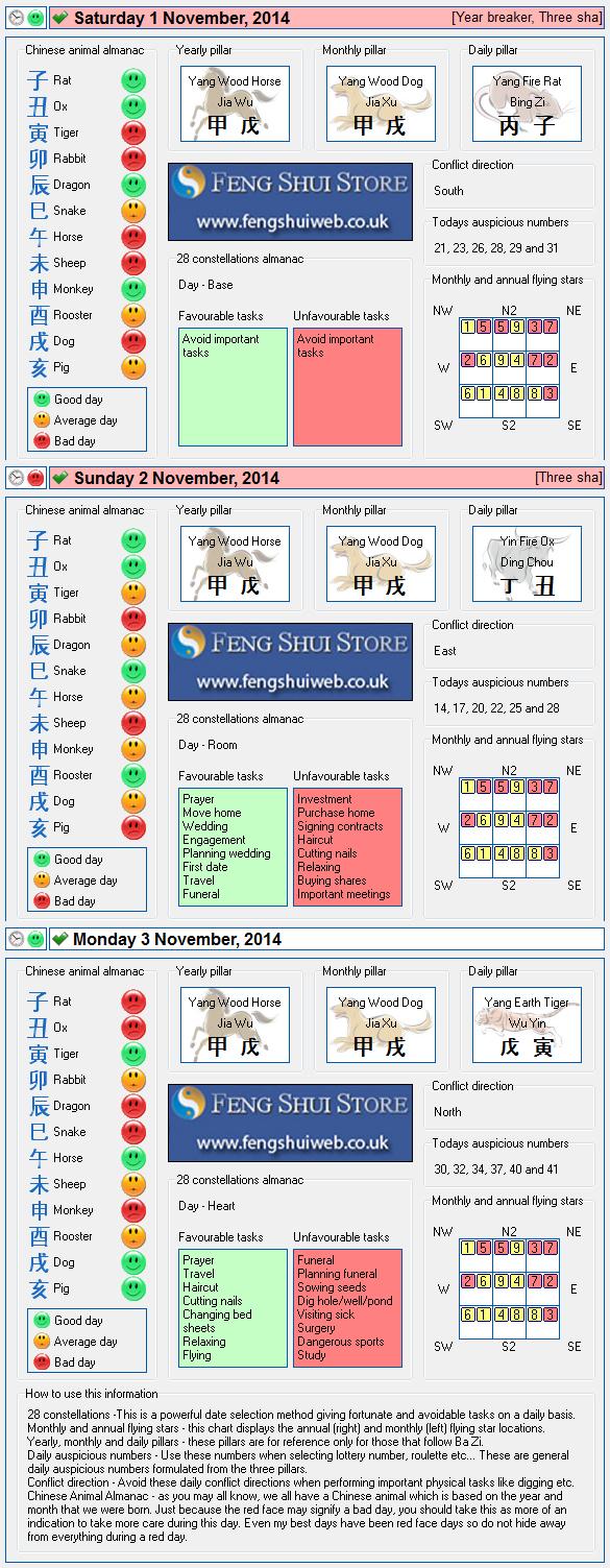Tong Shu Almanac for Saturday 1st - Monday 3rd November 2014