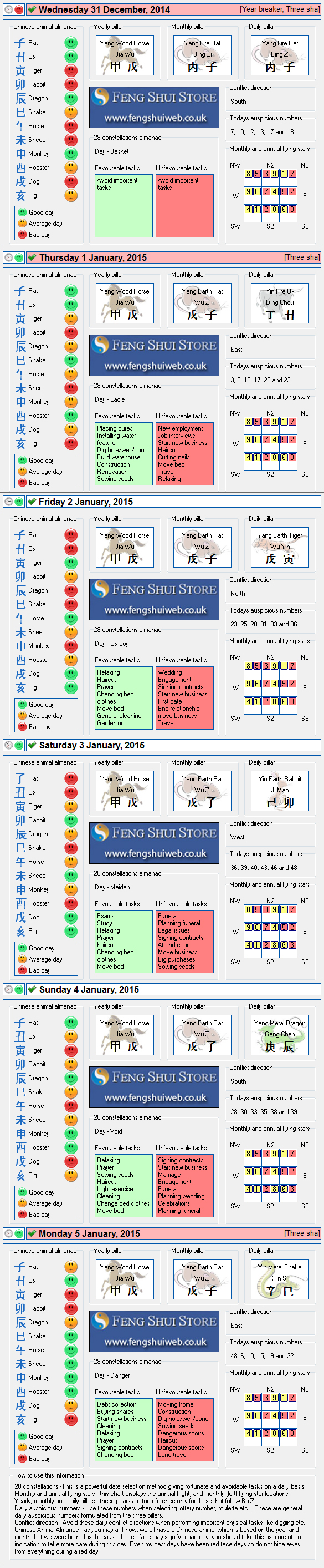 Tong Shu Almanac for Wednesday 31st December 2014 - Monday 5th January 2015