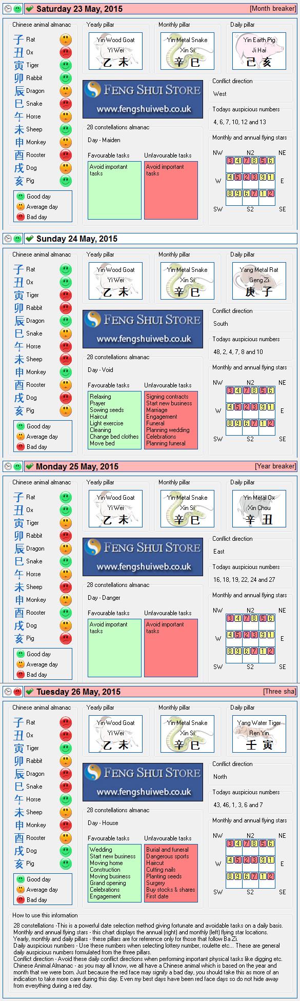 Tong Shu Almanac for Saturday 23rd - Tuesday 26th May 2015
