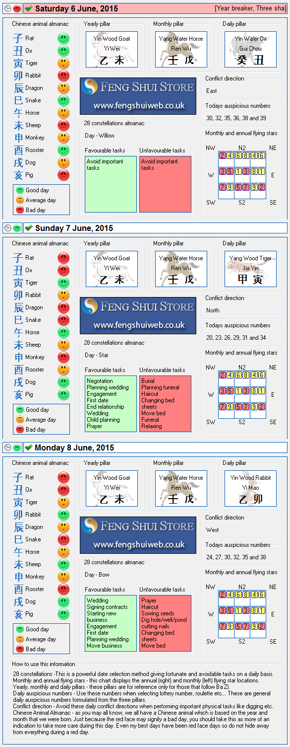Tong Shu Almanac for Saturday 6th - Monday 8th June 2015