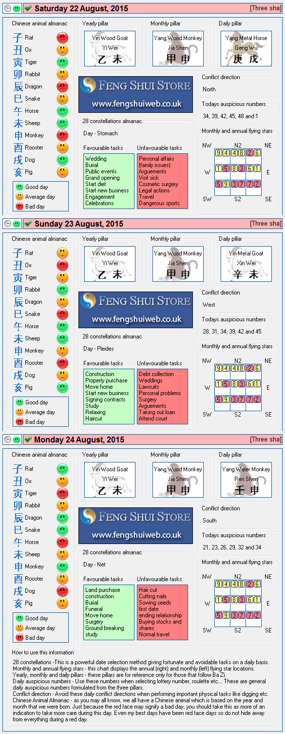 Tong Shu Almanac for Saturday 22nd -Monday 24th August 2015