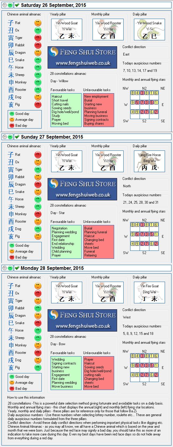 Tong Shu Almanac for Saturday 26th - Monday 28th September 2015
