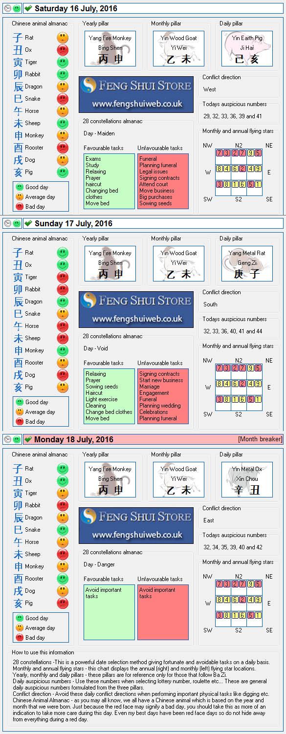Tong Shu Almanac for Saturday 16th - Monday 18th July 2016