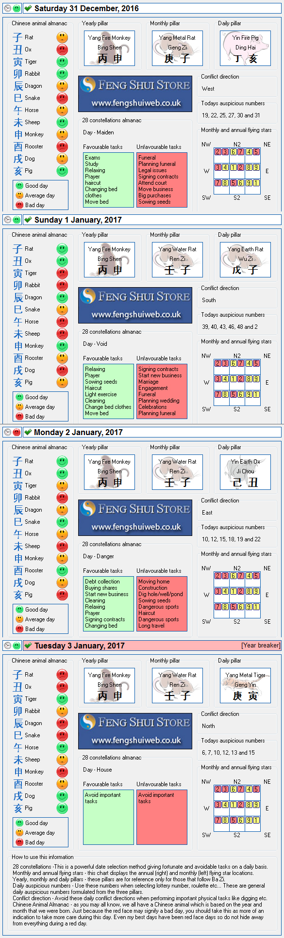 Tong Shu Almanac for Saturday 31st December 2016 - Tuesday 3rd January 2017