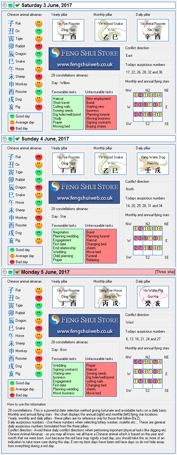 Tong Shu Almanac for Saturday 3rd - Monday 5th June 2017