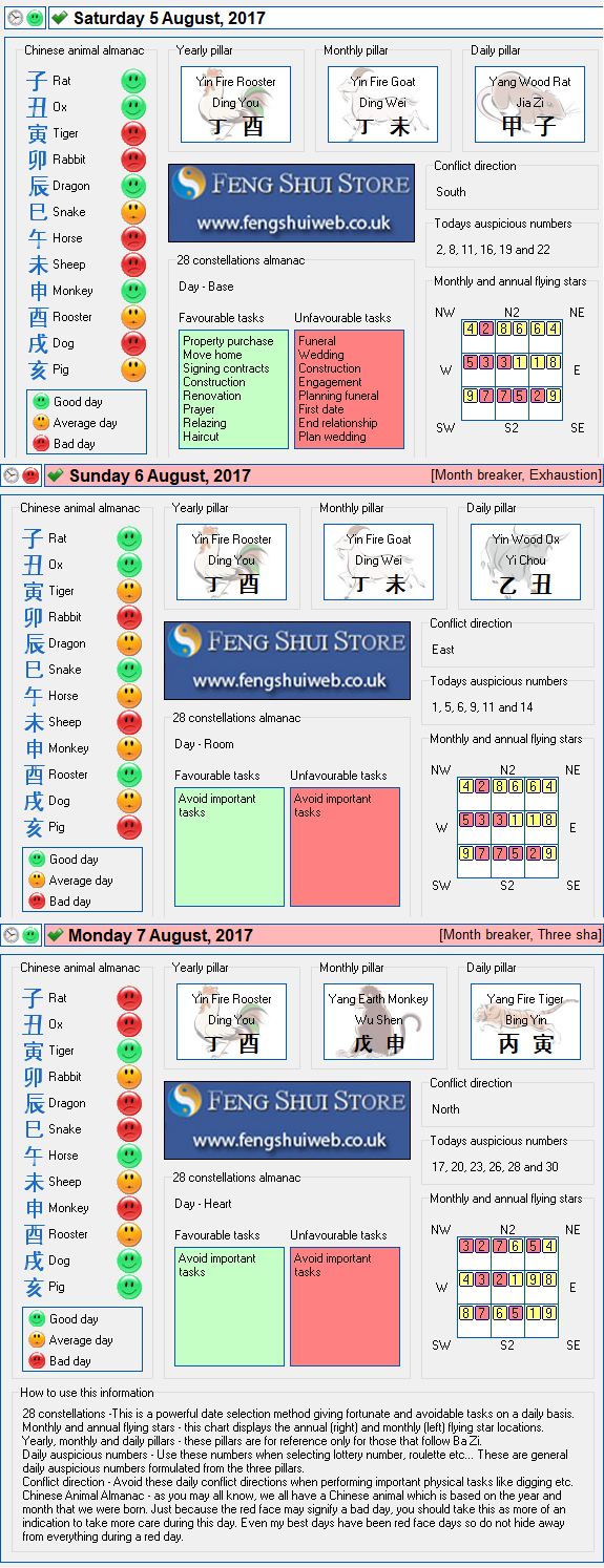 Tong Shu Almanac for Saturday 5th - Monday 7th August 2017
