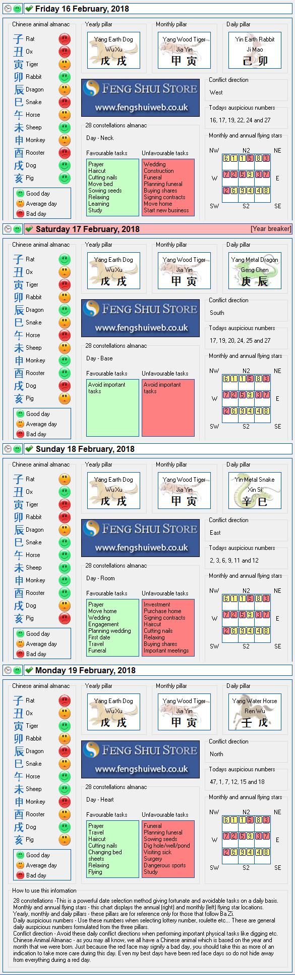 Tong Shu Almanac for Friday 16th - Monday 19th February 2018