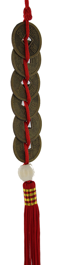6 Chinese I-Ching coins tied in a row X1