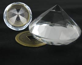 8 facets Crystal Diamond Zuan Shi Cheng Ji- W-37mm H-25mm
