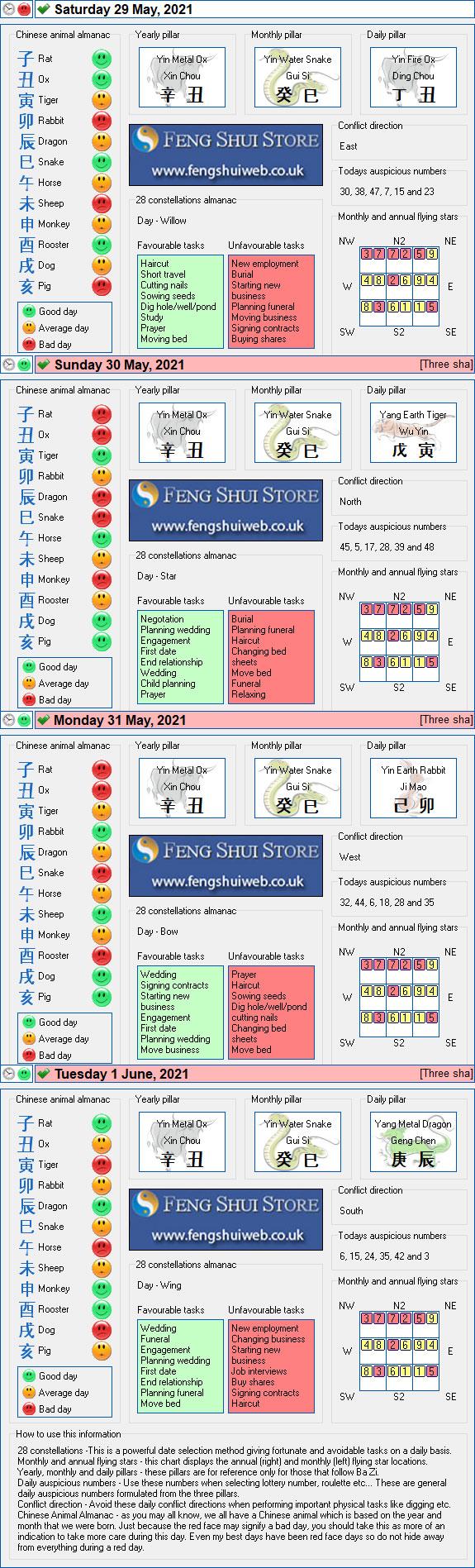Tong Shu Almanac for Saturday 29th May -Tuesday 1st June 2021