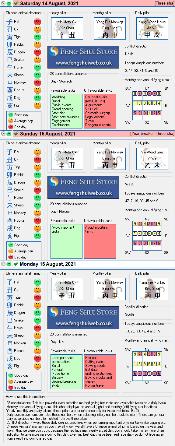 Tong Shu Almanac for Saturday 14th -Monday 16th August 2021